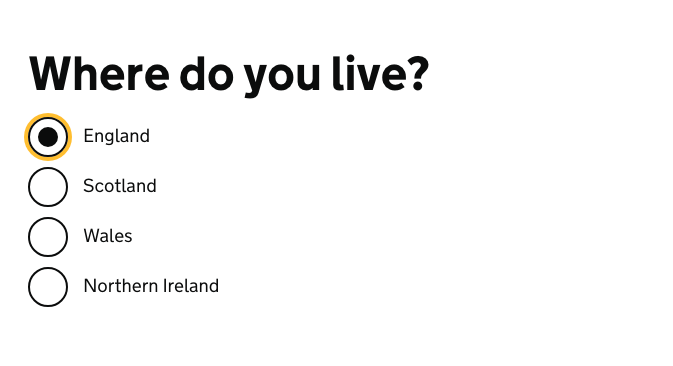 a screenshot of an example from the GOV.UK Design System, showing a set of radio buttons underneath the question 'where do you live?'. The first option, 'England' is selected.